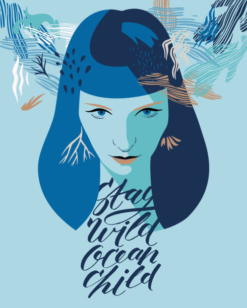 "Decorative woman portrait. Young woman portrait with stylish inspirational lettering ""stay wild ocean child"". Modern flat style. Greeting card, print art home decoration. one young woman only stock illustrations"