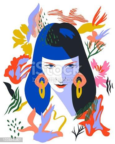 istock Decorative woman portrait. 1223345921