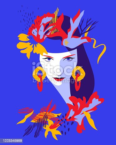Beautiful woman full face. Close-up portrait of young girl wearing large earrings and stylized floral wreath headband or headdress. Fashion model girl in pop art style, flat design.
