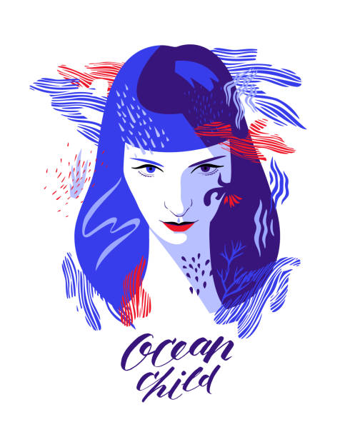 "Decorative woman portrait. Young woman portrait with stylish lettering ""ocean child"". Modern flat style. Greeting card, print art home decoration. one young woman only stock illustrations"