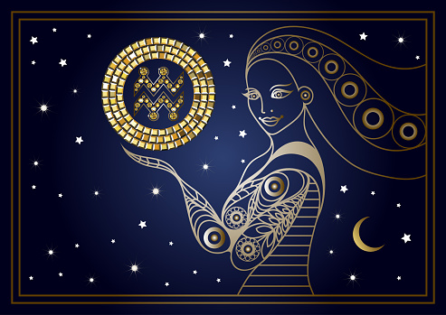 Decorative woman with the sign of the zodiac 6