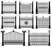 Decorative wrought fences and gates vector set