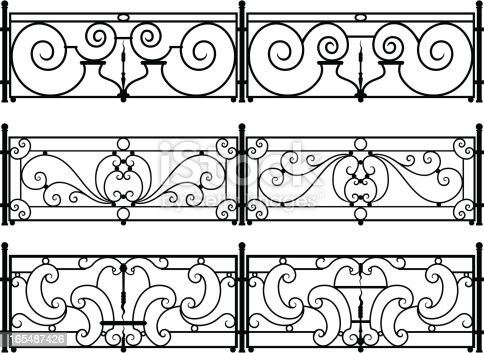 Six variations on sections of decorative wrought-iron fences or balcony railings. Each section is different, with loop, spiral, curl, and dagger shapes. You can separate, duplicate, and rearrange the sections and fence posts for multiple designs.
