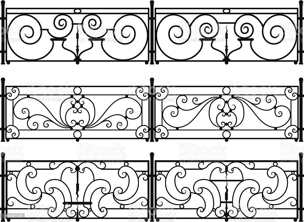 Decorative wrought-iron fence or railing vector drawings vector art illustration
