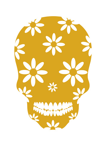 Decorative yellow skull with flowers on a white background. Template for printing on T-shirts, cups, pillows, gliders. Vector illustration.