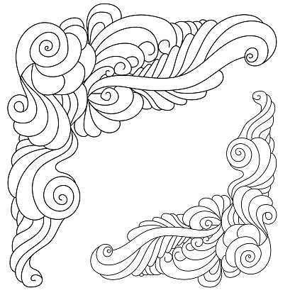 Decorative zen corner made of doodle curls and flowing lines, coloring page with corner frame with tangles and spirals,