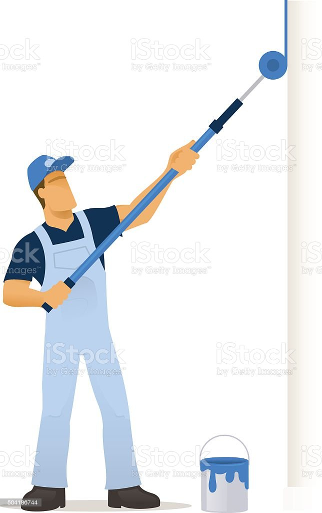 decorator with extended roller brush vector art illustration