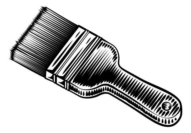 illustrations, cliparts, dessins animés et icônes de décorateurs paintbrush vintage woodcut style - logo peintre en batiment