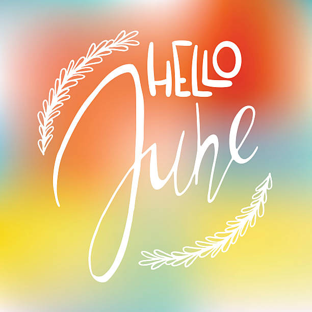stockillustraties, clipart, cartoons en iconen met decotative card with handdrawn lettering - juni