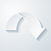 istock Decrease. Icon with paper cut effect on blank background 1315590637