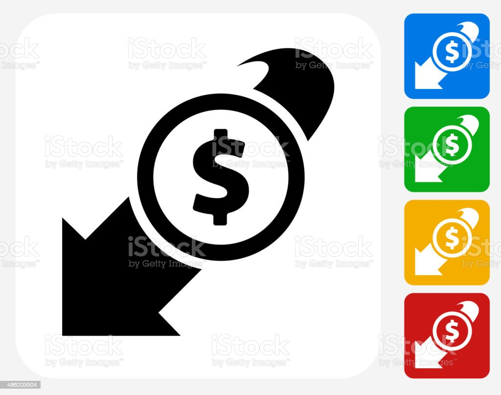 Decrease in Dollar Rate Icon Flat Graphic Design vector art illustration