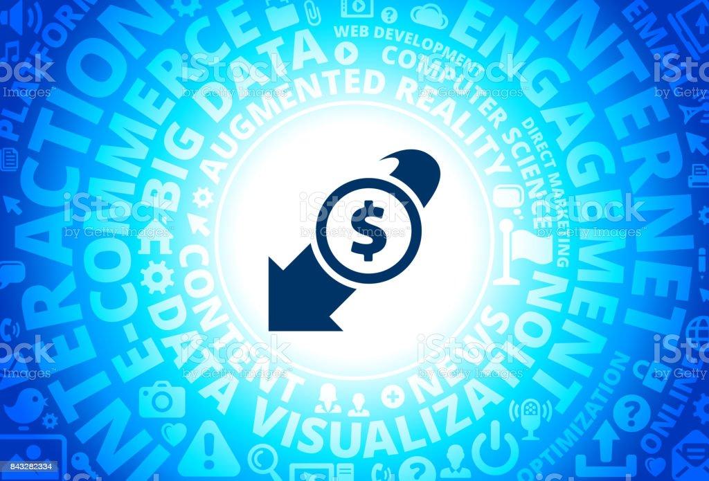 Decrease in Dollar Rate Icon on Internet Modern Technology Words Background vector art illustration