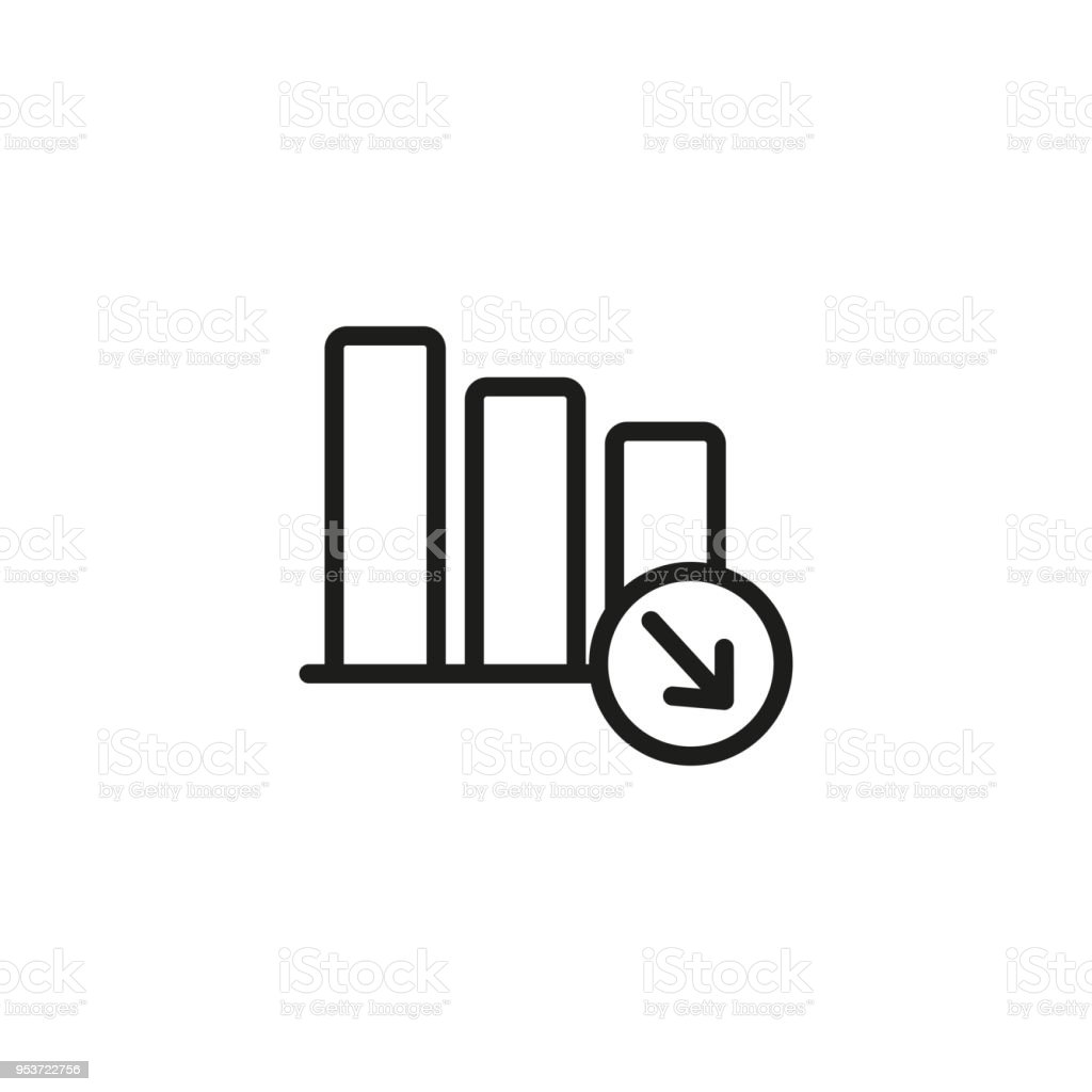 decreasing bar chart icon stock vector art & more images of arrow