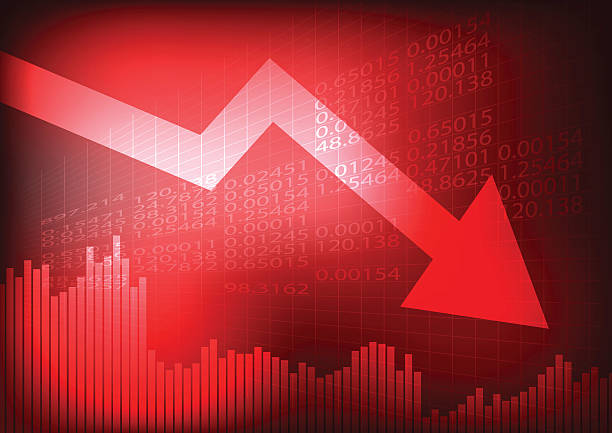 decreasing graph and arrow on red stock board - market stock-grafiken, -clipart, -cartoons und -symbole