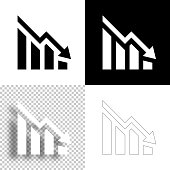 istock Decreasing graph. Icon for design. Blank, white and black backgrounds - Line icon 1298392936