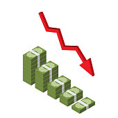 Decreasing stack of isometric money with red arrow, downtrend infographic vector