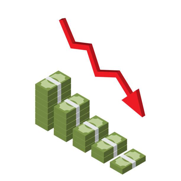 ilustraciones, imágenes clip art, dibujos animados e iconos de stock de disminución de pila de dinero isométrica con flecha roja - bancarrota