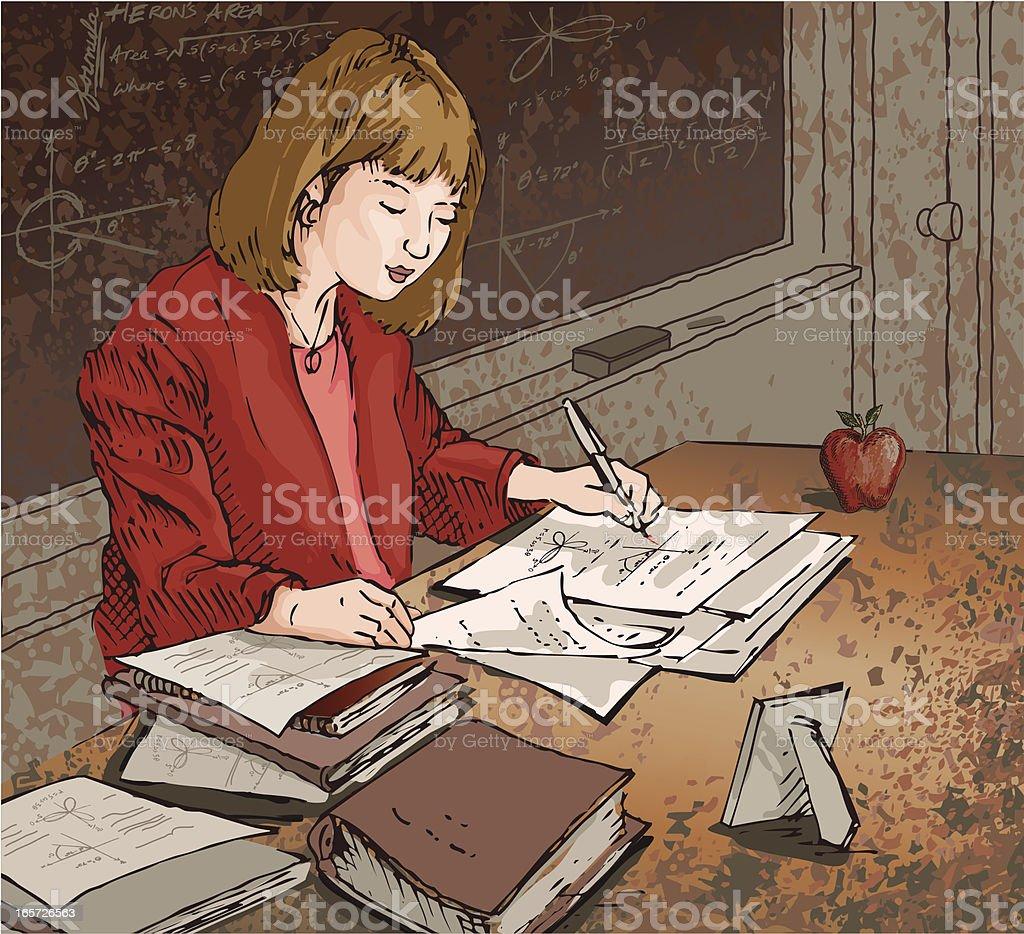 Professor dedicado - ilustração de arte em vetor