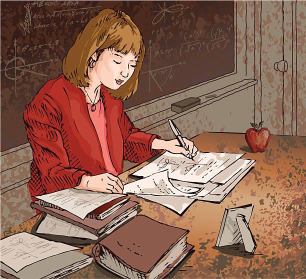 ilustrações, clipart, desenhos animados e ícones de professor dedicado - aula de redação