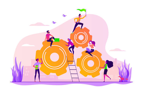 Dedicated team concept vector illustration Team building and leadership. Career growth and job opportunities. Dedicated team, software development professionals, business model in IT concept. Vector isolated concept creative illustration dedicated stock illustrations