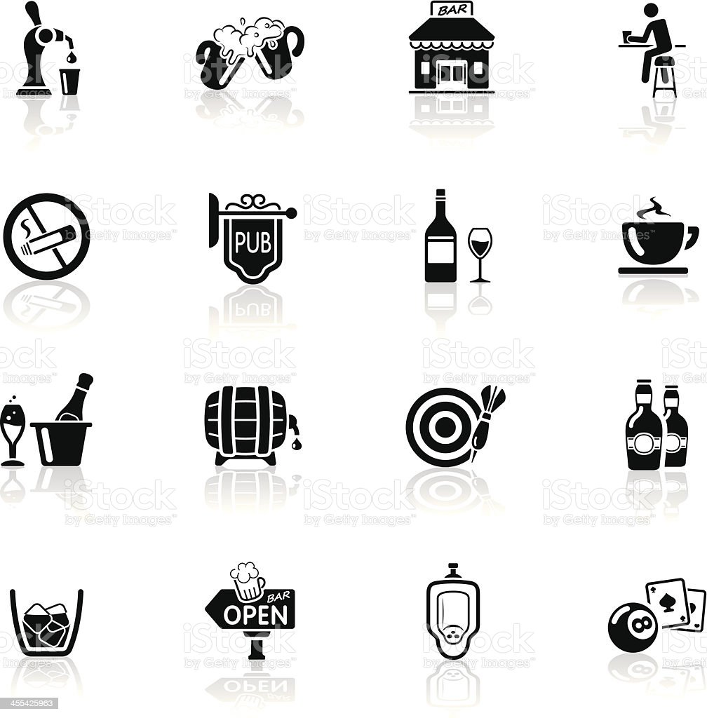 Deep Black Series | bar and pub icons vector art illustration