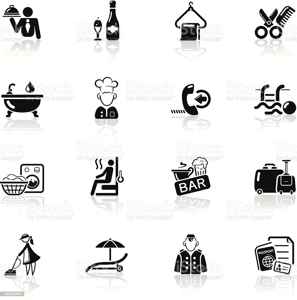 Deep Black Series | hotel icons royalty-free stock vector art