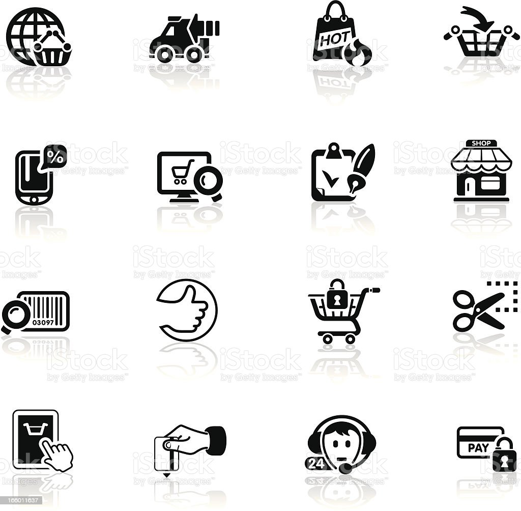 Deep Black Series | internet shopping icons royalty-free deep black series internet shopping icons stock vector art & more images of bar code