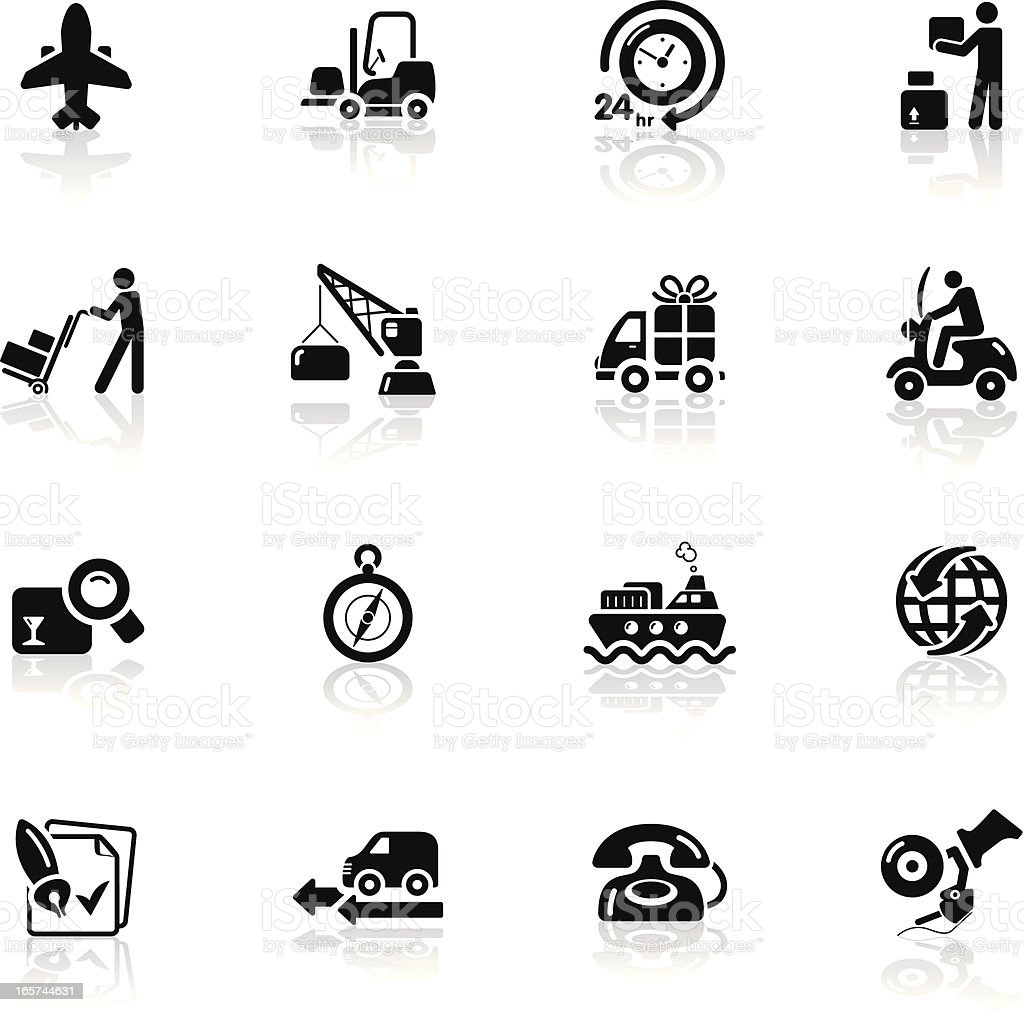 Deep Black Series | logistics and shipping icons royalty-free stock vector art