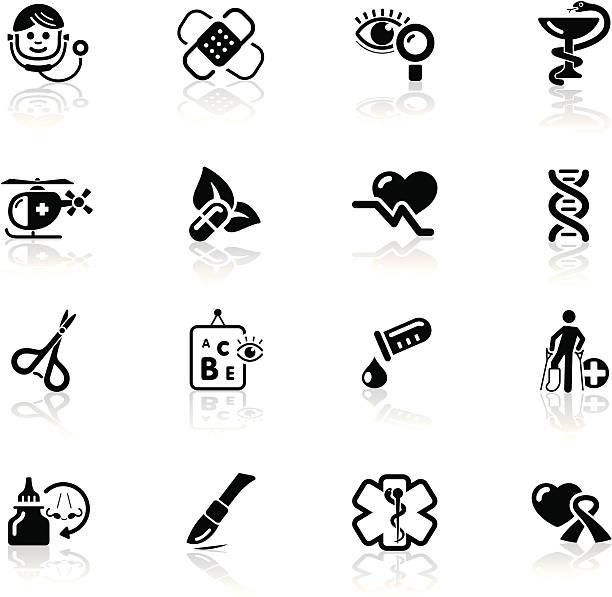 Deep Black Series | medical icons vector art illustration