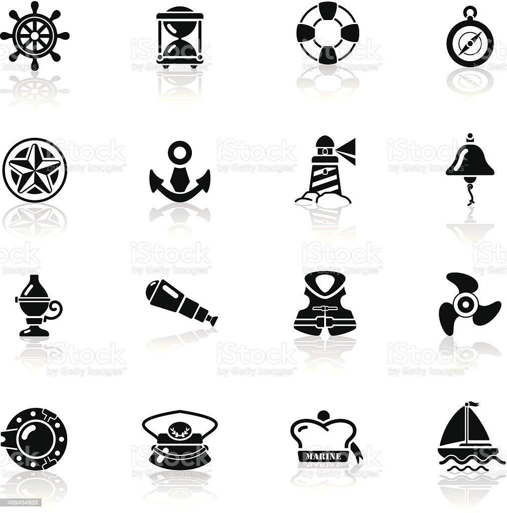 Deep Black Series | nautical icons vector art illustration