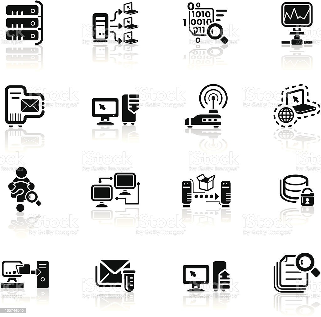 Deep Black Series | network icons vector art illustration