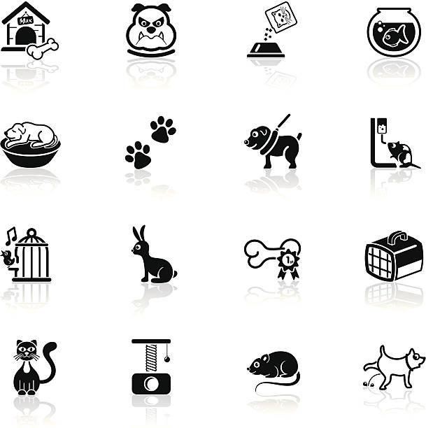 tiefschwarze series/haustiere symbole - hundebetten stock-grafiken, -clipart, -cartoons und -symbole
