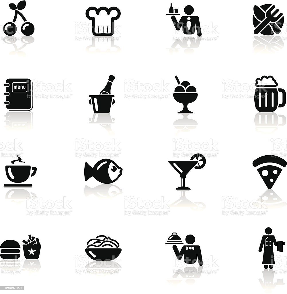 Deep Black Series | restaurant icons vector art illustration