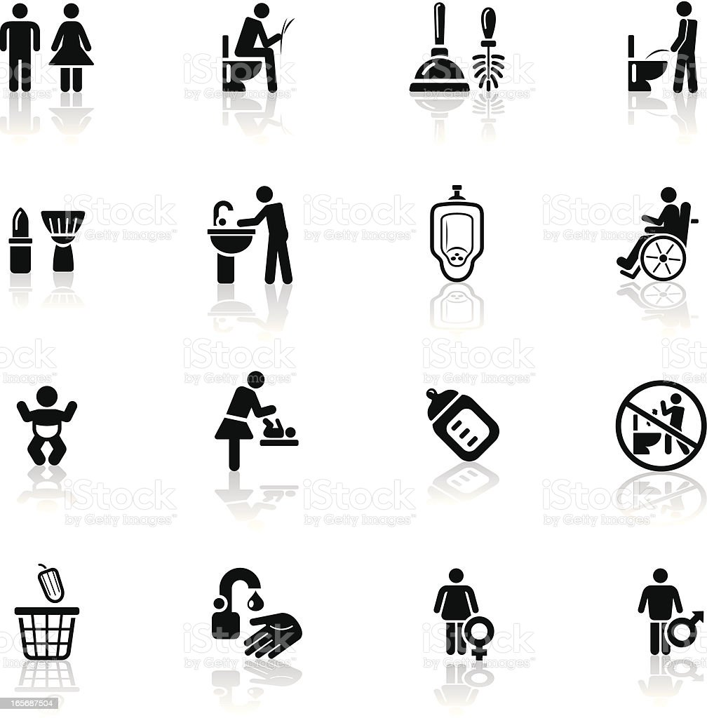 Deep Black Series | restroom icons vector art illustration