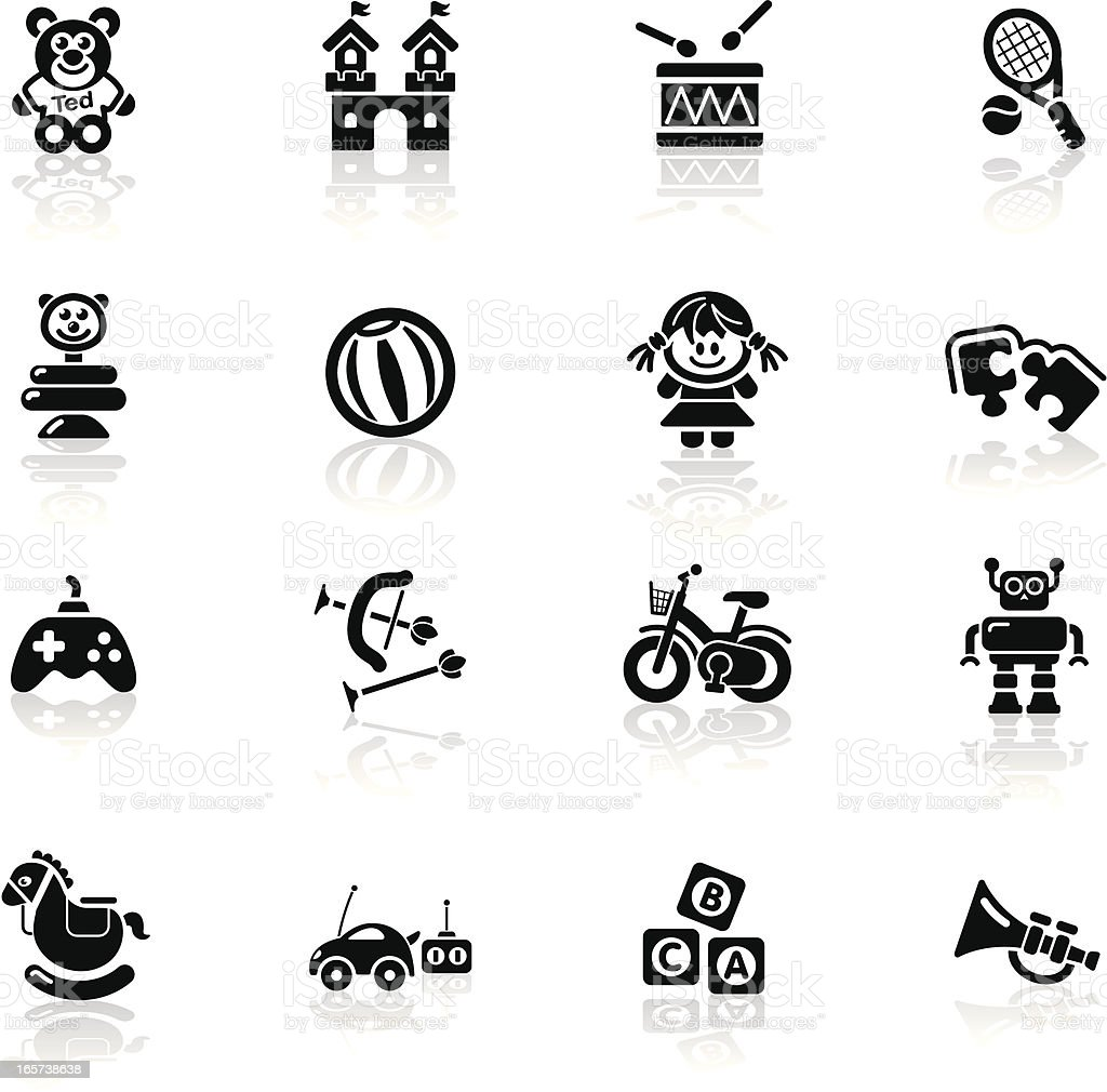 Deep Black Series | toys icons royalty-free stock vector art