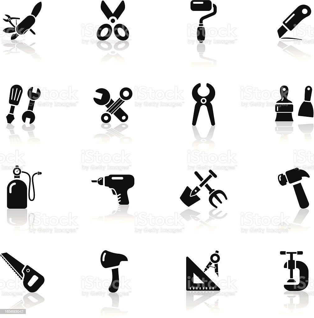 Deep Black Series | work tool icons royalty-free stock vector art