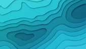 Deep blue layers abstract water background concept.