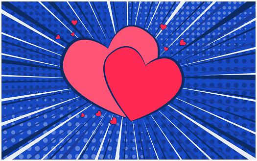 Deep blue retro comic speech bubble with hearts