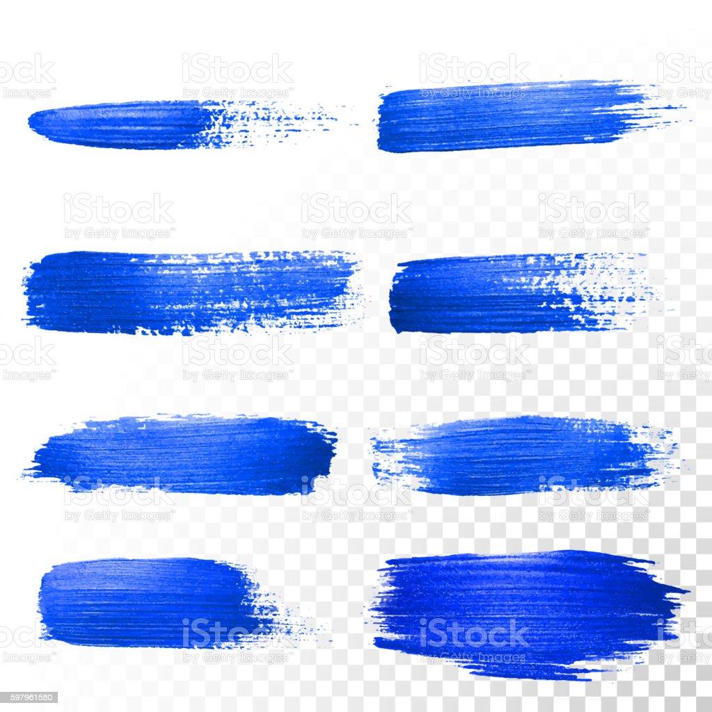 Deep blue watercolor brush abstract strokes set. Vector oil paint vector art illustration