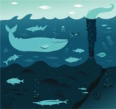Deep sea scene of blue whale and friends. Undersea volcano is erupting.