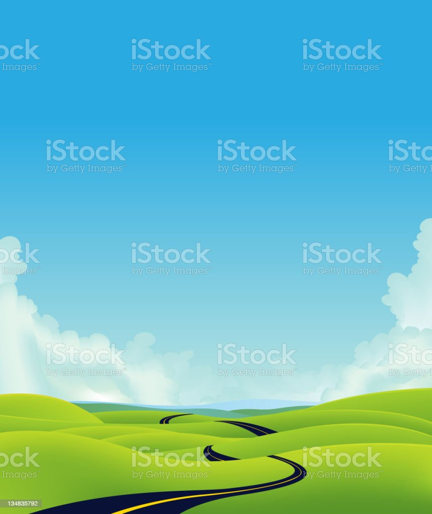 Deep Country Road Landscape royalty-free stock vector art