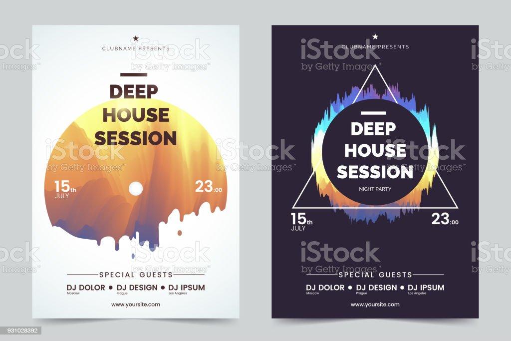 Deep House Party A4 Einladung Konzept. Nacht Club Party Moderne Flyer.  Schwarz /
