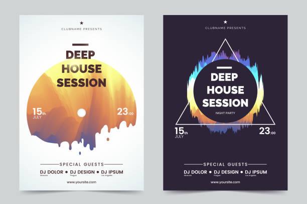 deep house-party a4 einladung konzept. nacht club party moderne flyer. schwarz / weiß-hintergrund mit abstrakten geometrischen formen bunt. konzept der musik poster. vektor eps 10. - edm stock-grafiken, -clipart, -cartoons und -symbole