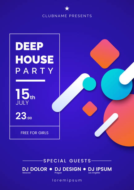 Deep house party a4 invitation concept. Night club party modern flyers. Blue gradient background with motion geometric colorful shapes. Concept of the music poster. Vector eps 10. Deep house party a4 invitation concept. Night club party modern flyers. Blue gradient background with motion geometric colorful shapes. Concept of the music poster. Vector eps 10. electro music stock illustrations