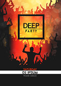 Deep party crowd poster design