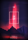 istock Deep party poster design with dark neon mountains 1313532408