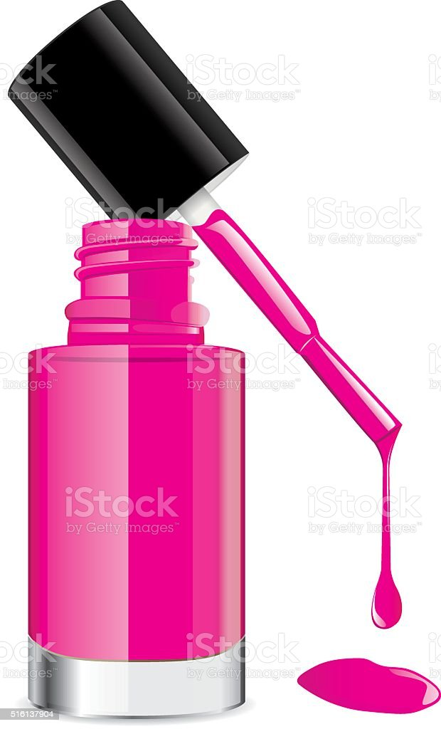 Deep pink nail polish have a lid on top vector art illustration