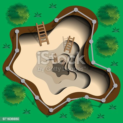 View from above. Vector illustration.