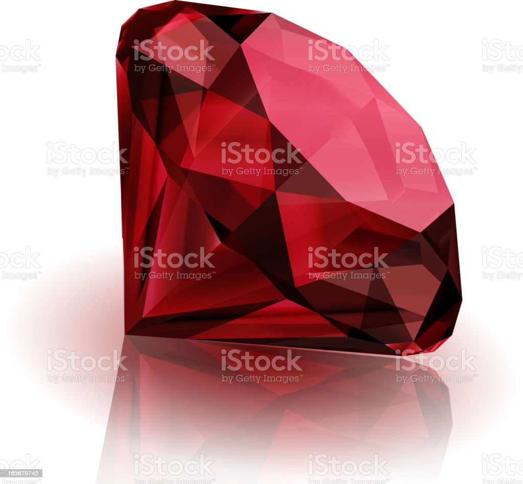 A deep red ruby laying on its side