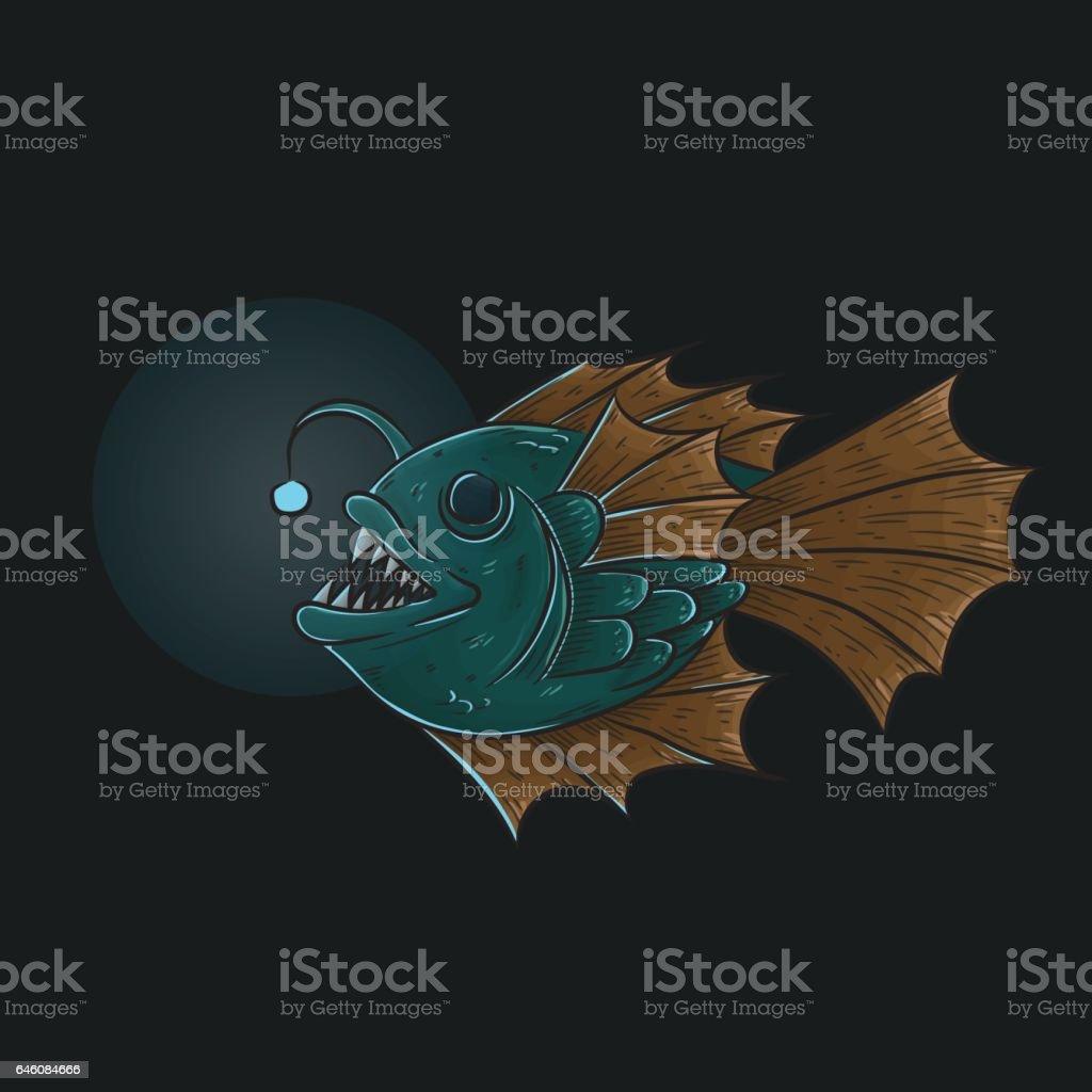 Deep sea anglerfish vector art illustration